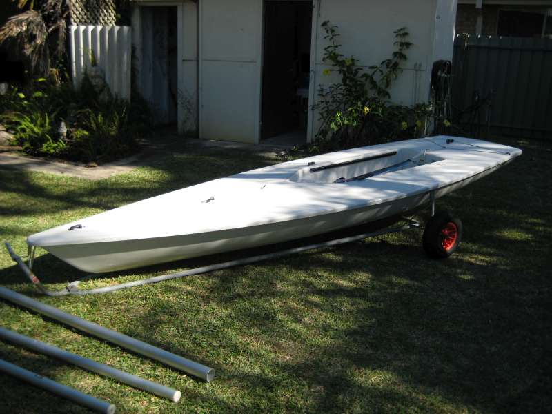 Laser dinghy off trailer