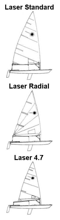 3 Laser Sailboats