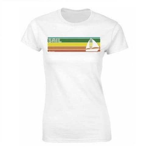 Retro SAILING Strip Ladies T-Shirt