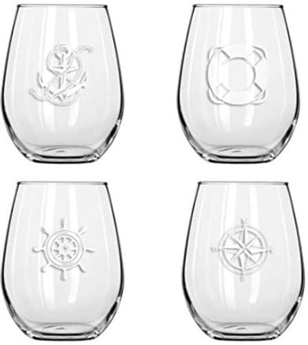 Stemless Wine Sailing Glasses Set of 4
